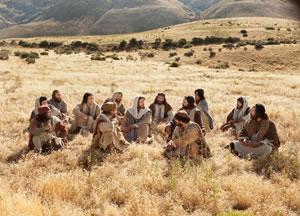 Kristus, eden pomembnejših učiteljev nove vere, uči svoje učence.