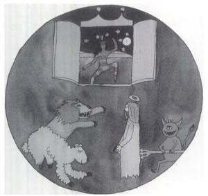 Ilustracija, ki prikazuje izkušnjo s psihedeličnimi gobami v kateri je morbidna in pravičniška religioznost, prikazana in zasmehovana kot lažna duhovnost, ki je netolerantna do drugih duhovnih poti in sovražna tako do človeškega telesa kot narave. Prikazuje praznovanje univerzalne, vse-uključujoče in na naravi orientirane duhovnosti. Moč in vitalnost tega pristopa do življenja simbolizira lev, ki se dviga iz ovce.