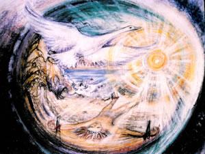 """Zadnja faza"""" ego-smrti"""" in preporoda. Labod in sonce predstavljata v številnih kulturah arhetipski simbol zadnje faze tega procesa."""